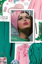 Vogue - green and pink