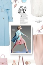 pink, blue and white