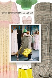 VIKTOR & ROLF pouf sleeve lace maxi dres