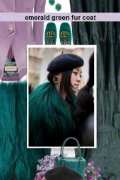 Emerald green fur coat