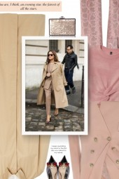street style - beige and pink and black