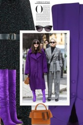 purple coat and shoes