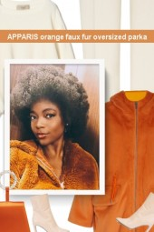 APPARIS orange faux fur oversized parka