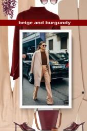 beige and burgundy