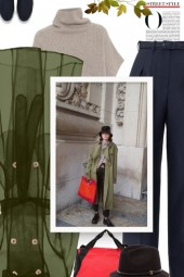 olive sheer trench coat