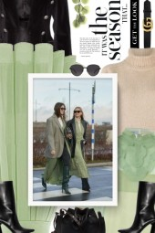 black, green and beige