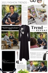 Meghan Markle wore a black silk dress by Armani fo
