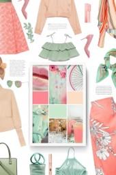 green/peach/pink