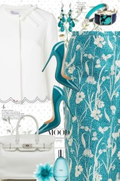 Spring Teal and Cream Skirt