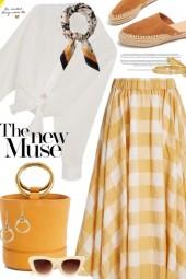Mustard and Cream Skirt
