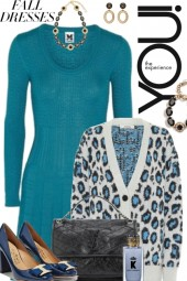 Teal Wool Dress