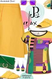 Multi Colored Geometric Print T-Shirt Summer Style