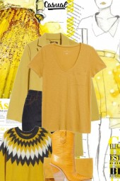 Ceylon Yellow, marigold and dark grey