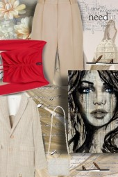 Beige and Red