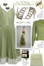 Green Pleated Dress!
