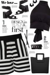 Black & White Stripe Shorts!