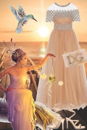 Ferskenfarget kjole
