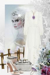 Sid hvit kjole