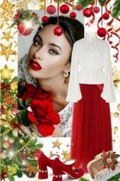 Rødt skjørt og hvit bluse