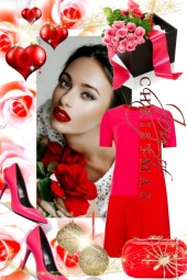 Pink and red Christmas dress