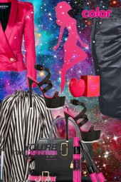 Black/pink and white