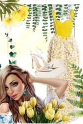 Yellow and white dress
