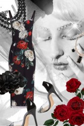 Kjole med rosemønster