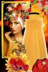 Aprikosfarget sid kjole