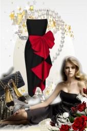 Sort og rød kjole