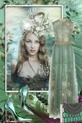 Lys turkis sid kjole