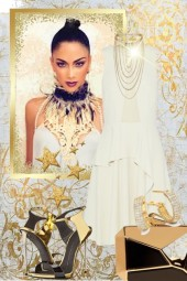 White dress and gold