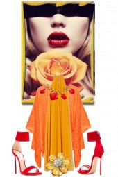 Gul kjole og oransje cape