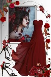 Dyprød sid kjole