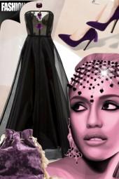Sort festkjole med lilla tilbehør