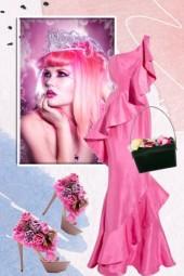 Rosa sid kjole 7-8