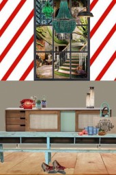 Sweet shop style dining room with indoor window