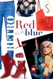 retro red and blue