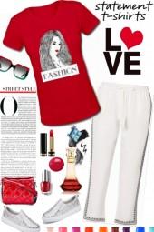 Fashion Lady Red Tshirt Set