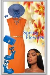Blue and Orange-Spring Flowers