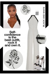 White Jumpsuit with Black Trim