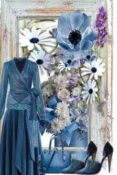 AQUA AND SPRING FLOWERS-