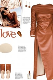 How to wear a Faux Leather High Slit Midi Dress!