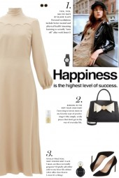 How to wear a Tie-Neck Scallop Detail Midi Dress!