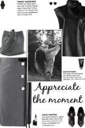 How to wear Button Detail Tie-Waist Pencil Skirt!