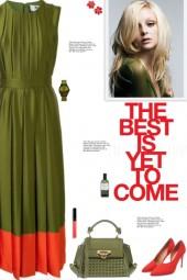 How to wear a Contrast Hem Pleated Midi Dress!