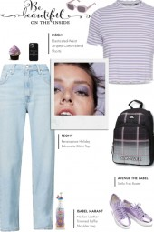 How to wear a Striped Mock Neck T-Shirt!