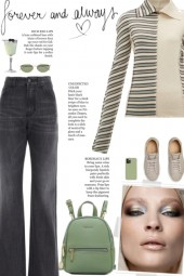 How to wear a Striped Collar Long Sleeve Top!