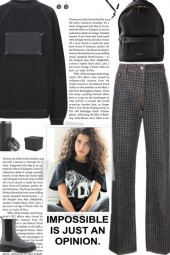 How to wear Houndstooth Print Wide Leg Jeans!