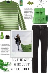 How to wear a Striped Green Long Sleeve T-Shirt!