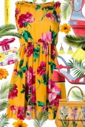 Yellow Flower Printed Dress